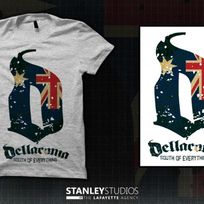 SOUTH OF EVERYTHING-Aussie flag Grey T
